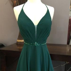 Open Back Green Chiffon Sheath Dress ACSU027S